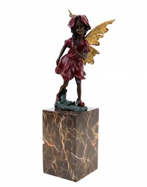 Fairy Figurine - Flower Fairy - Bronze Figurine On Marble Base - Art Nouveau - Milo