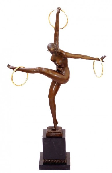 Art Deco Bronze Dancer with 3 Rings on Marble signed Duvernet
