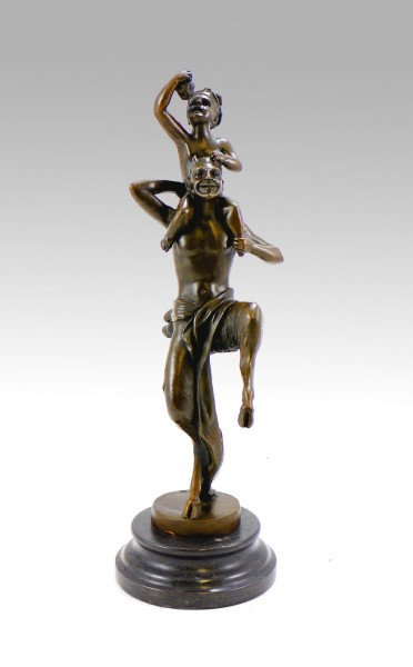 Vienna Bronze Satyr/ Baby sitting on devils shoulders, Bergmann