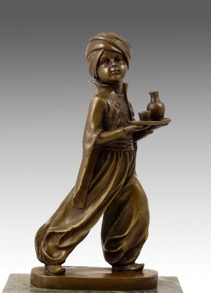Stunning Art Deco bronze - Oriental Waiter - signed F. Preiss