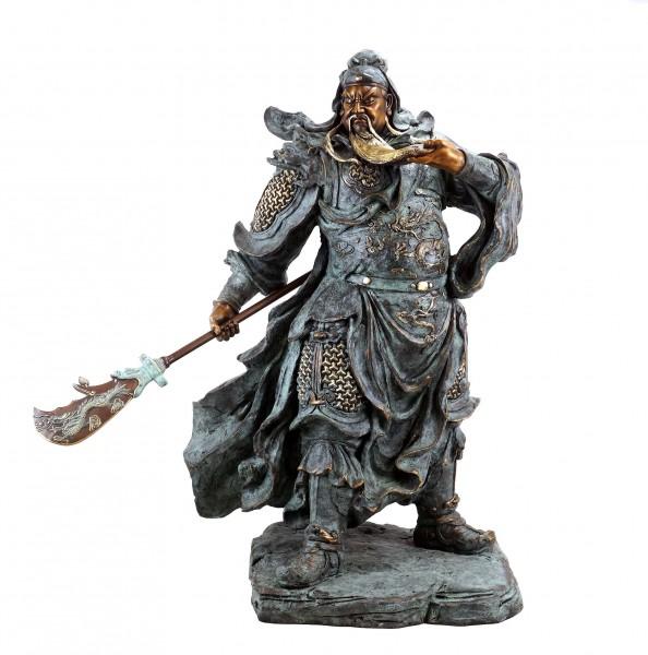 General Guan Yu - Opulent Bronze Statue - Samurai Sculpture - Signed Milo