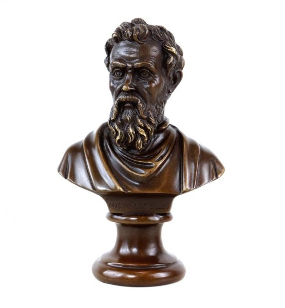 Michelangelo Bronze Bust - signed - Bronze Figurine