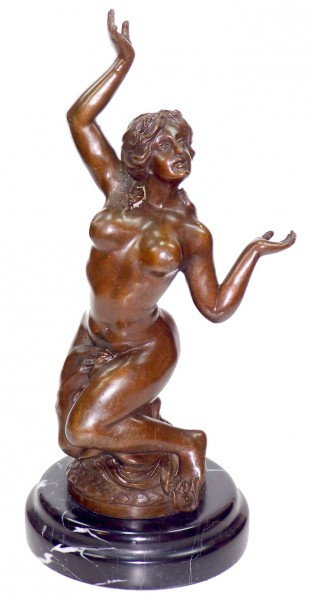 Art Nouveau Nude Bronze - The Slave - on marble base sign. Milo