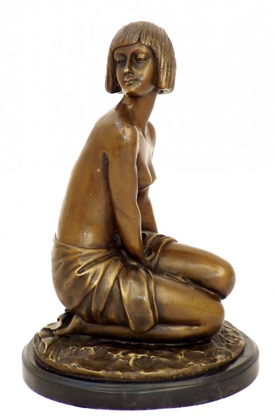 Art Deco Bronze Sculpture - nude Aspasie signed A.Gennarelli