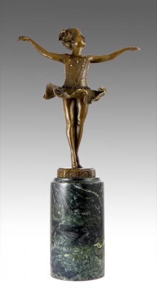 Lovely Art Deco bronze - Little Ballerina - signed F. Preiss