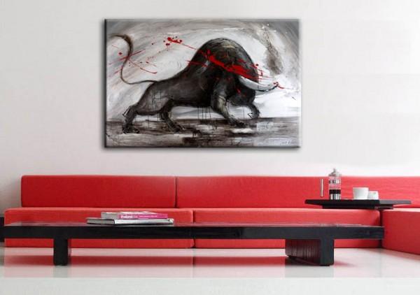 Wild Bull - Oil Painting - sign. Martin Klein