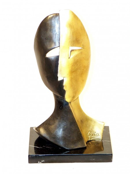 Modern Art Mask - from Miguel Guia signed on marble Base