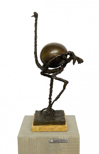 Modern Sculpture - Ostrich (2 parts), Homage to S. Dali, signed