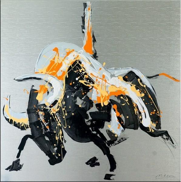 Modern Art Bull on Canvas - Raging Bull I - Martin Klein