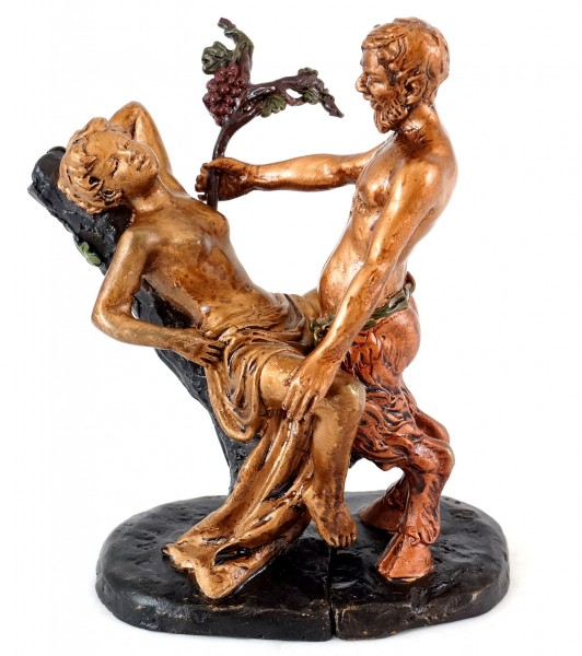 Erotic Vienna Bronze - Love-crazed Faun / Satyr - Two-piece