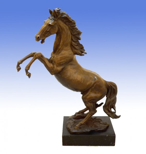 Large dynamic bronze sculpture - Wild Stallion - signed Milo