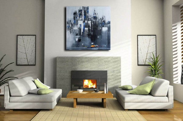 Oil Painting - Skyline of Manhattan III / New York - M. Klein