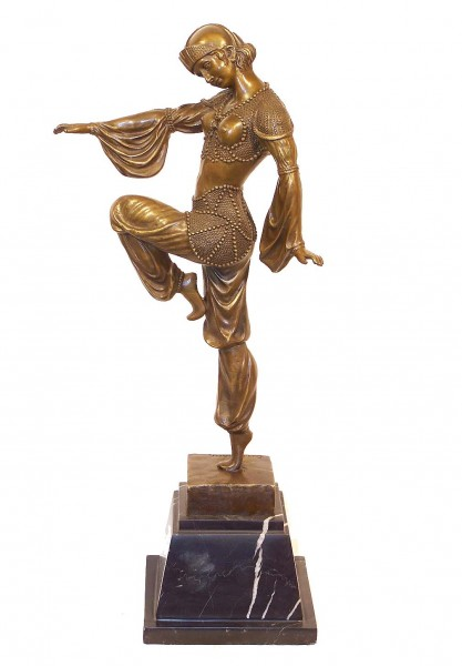 Art Deco Bronze - Harlekin Dancer on Marble - D.H. Chiparus