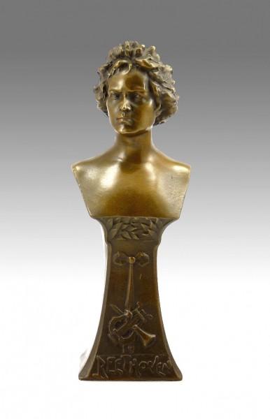 """Hermann Gladenbeck """"Beethoven"""" Bronze Bust, signed"""