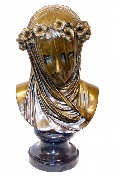 Large Sculpture Art nouveau bronze Mary with veilcover - signed
