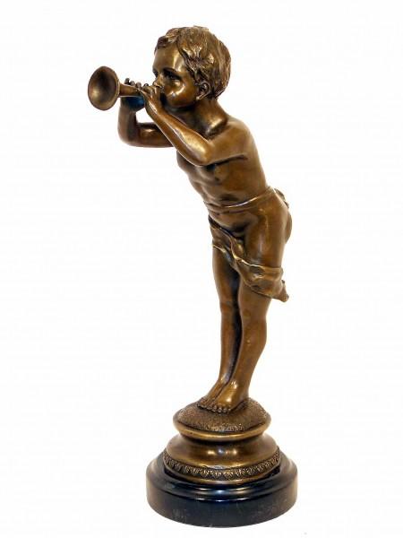 Art Nouveau Bronze,Trumpeter on Marble-base signed Louis Kley
