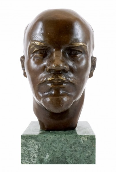 Bronze Statue - Vladimir Ilyich Lenin - on marble base - signed