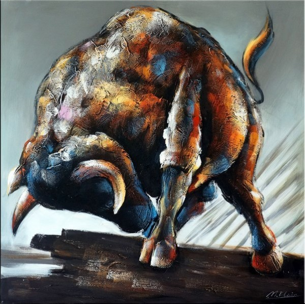 Unleashed Bull / Abstract Bull - Acrylic Painting on Canvas