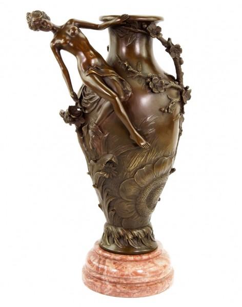 Bronze Art Nouveau Vase - signed Moreau - Erotic Nude