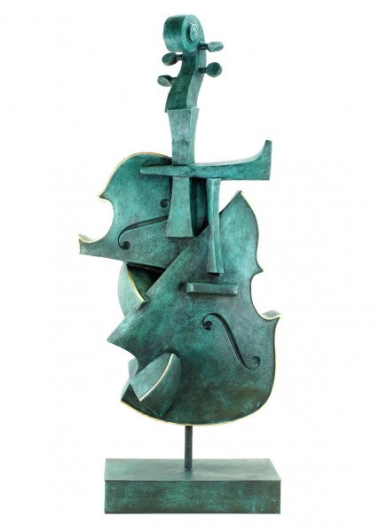 Big Cubist Bronze Violin - Limited Bronze Sculpture by Martin Klein