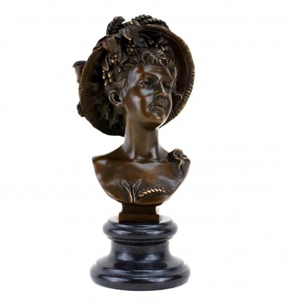 Bronze Portrait Bust - Art Nouveau Lady - Sign. Carrier-Belleuse