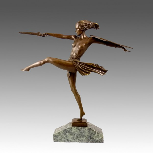 "Art Deco Bronze ""The Amazon"" on Marble by Pierre le Faguays"
