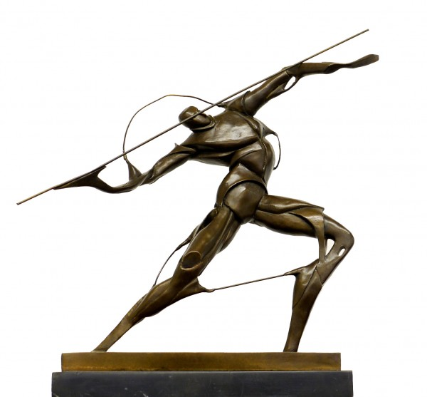 Futurism Bronze Figure - Warrior with Spear - signed U. Boccioni