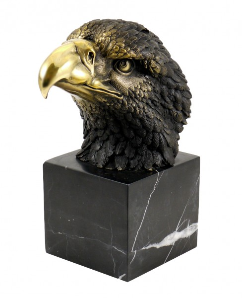 Animal Figure - Eagle on Marble - signed by Milo - Real Bronze