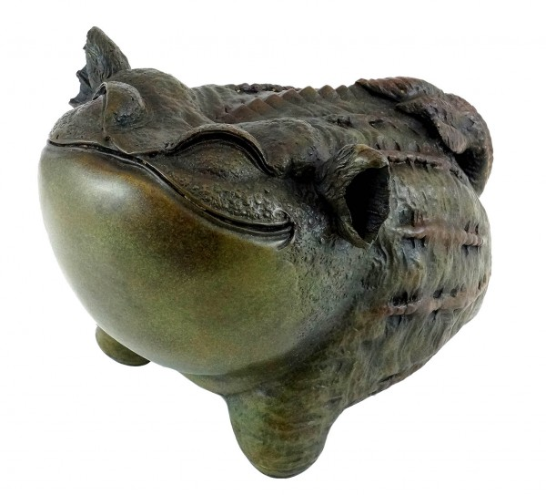 Funny Chinese Bronze sculpture frog - Toad - signed by Milo