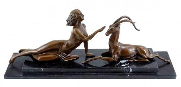Female Nude with Gazelle - Art Deco Bronze - Marcel Bouraine