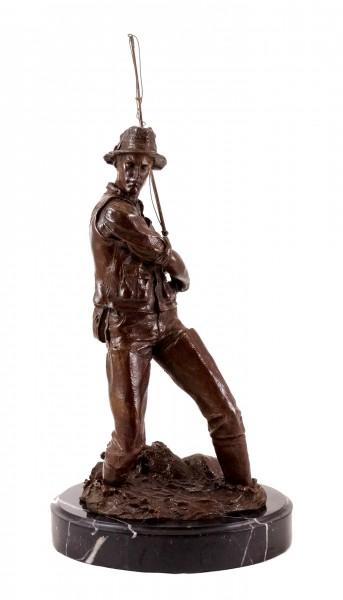 Bronze Sculpture - Angler / Fisherman with rod - sign. Duprè