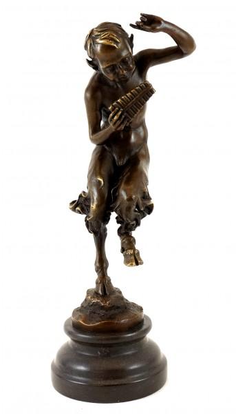 Bronze Figure - Dancing Satyr with Panpipe - Jules J. Labatut