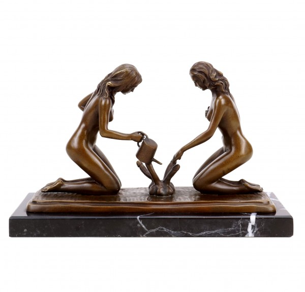 Erotic Sculpture - Sexy Gardeners Watering Penises - Signed Milo