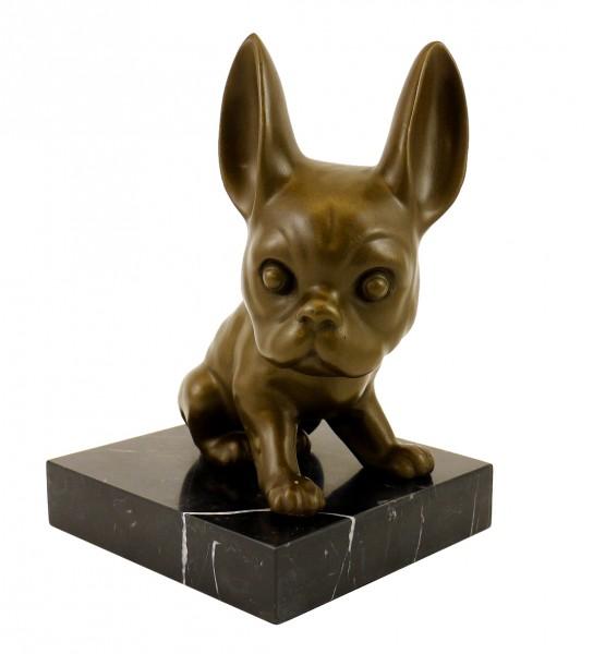Animal Bronze Figure - French Bulldog - Bully - sign. Milo