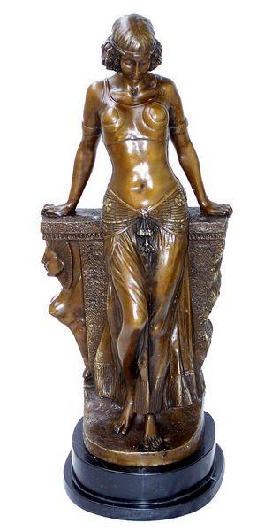 Art Deco Bronze Egyptian Girl on Marblebase signed Milo