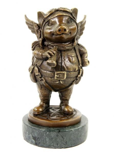 Limited Steampunk Pig - Bronze Statue Pilot by Martin Klein