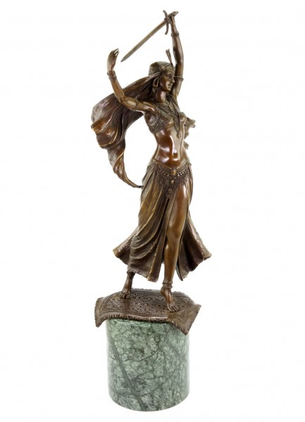 Art Deco Statue - Middle Eastern Sword Dancer - signed Preiss