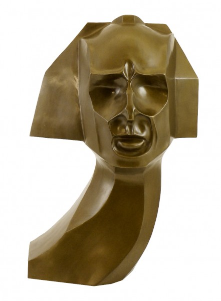 Cubistic Bronze Bust of Herwarth Walden - sign. William Wauer