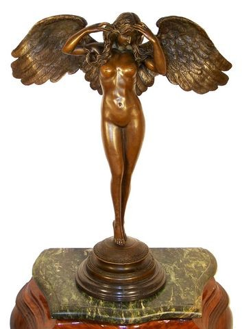 Large Erotic Angel Woman on Marble Base signed A.A. Weinman