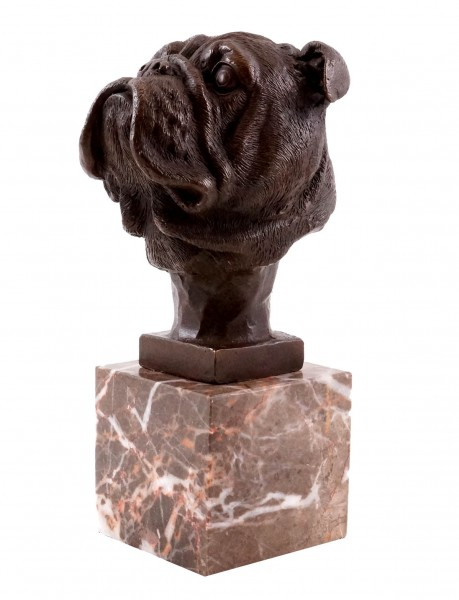 Head of a French Bulldog - Animal Sculpture - Real Bronze