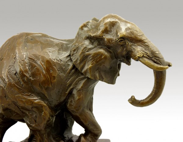 Abstract Bronze Elephant on marble base, signed Milo