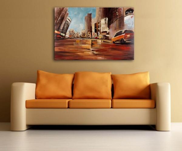 Street scene in New York - Martin Klein - oil on canvas