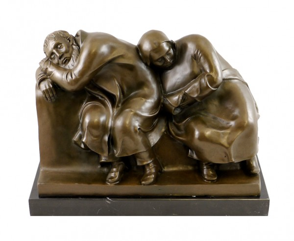 Modern Bronze Sculpture - Sleeping Drifters - signed E. Barlach