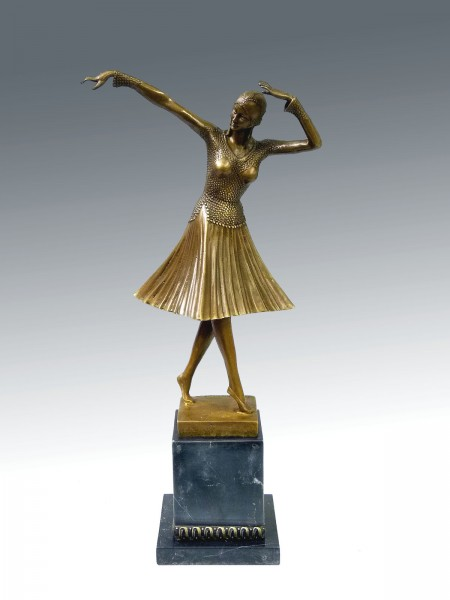 "Art Deco Bronze Dancer ""Miro"" by Chiparus on marble base"