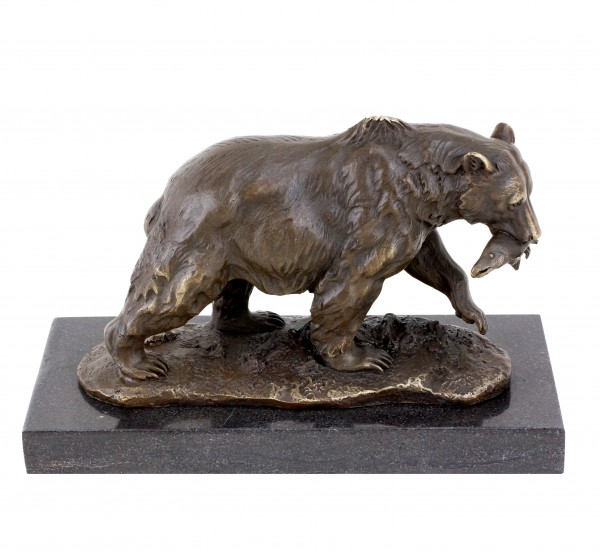 Grizzly Bear with Salmon - Animal Sculpture - Bronze Brown Bear
